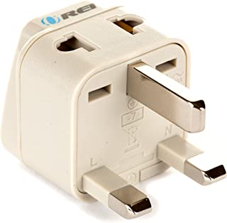 UK, Hong Kong, Travel Adapter by Orei, 2 Inputs Outlets - Usa to Uk - Universal Socket - Works for Use In United Kingdom, Ireland, Great Britain, Scotland, Dublin, Uae, Dubai, and More