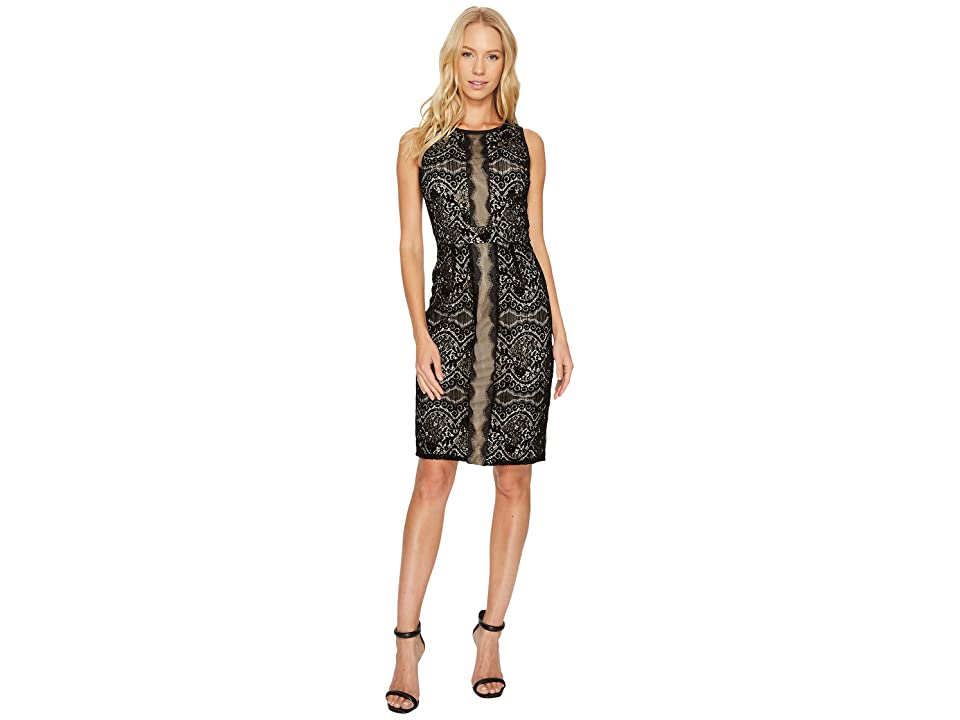 Adrianna Papell Flocked Lurex Lace Mixed Media Sheath (Black/Champagne) Women