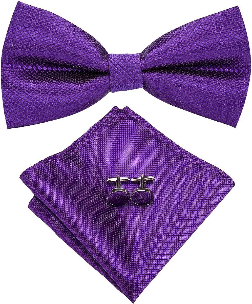 Hi-Tie Purple Bowtie Pocket Square Cufflinks Mens Bow Tie Set Silk Wedding Bowtie