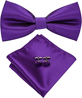 93494916fd19 Dubulle Mens Silk Pre Tied Bow Tie and Pocket Square Set with Cufflinks  Bowtie and Hankerchief
