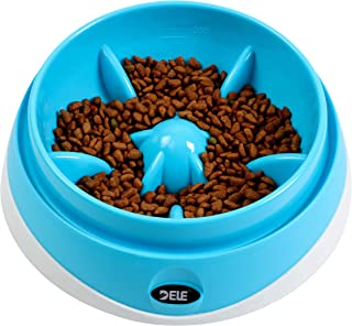 DELE Dog Bowl Slow Feeder - 200ml、 500ml、1000ml Scale Mark, Anti-Insect Sink Design, Bottom Suction Cup Anti- Skid and Noi...