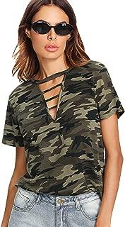 Women's Short Sleeve Camo Tee Shirt Striped Print Graphic T-Shirt Top