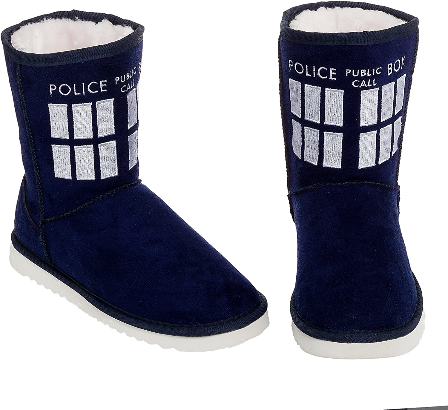 Doctor Who Women's Navy TARDIS Boot Slippers (Size 10)