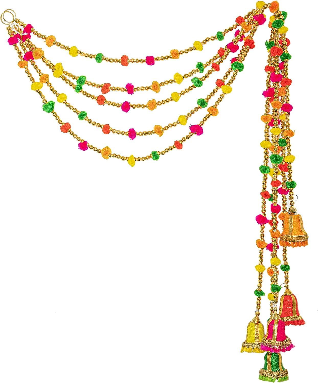 R and D Handicrafts 5-String Green Rainbow Pom Pom Garlands - Indian Decor, Diwali Decoration, Handmade Indian Wedding, Festival, Marigold Garland, Bohemian Interiors - 4 FT Per String