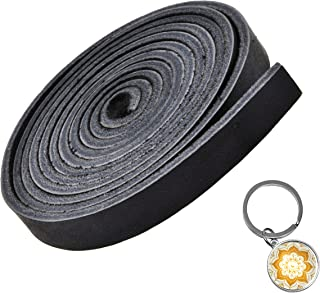 Mandala Craft Genuine Leather Strap, Flat Cowhide Strip Rope for Bags, Drawer Pulls, Handle Wraps, Ribbons, Clothing, Belts, Jewelry Making (1/2 Inch Wide, 72 Inches Long, Black)