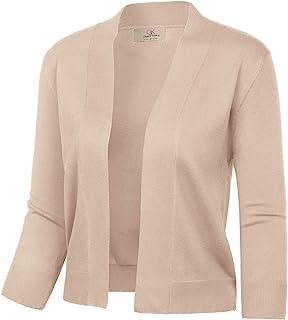 GRACE KARIN Women's 3/4 Sleeve Cardigan Knit Sweaters Cropped Open Front Shrug Bolero