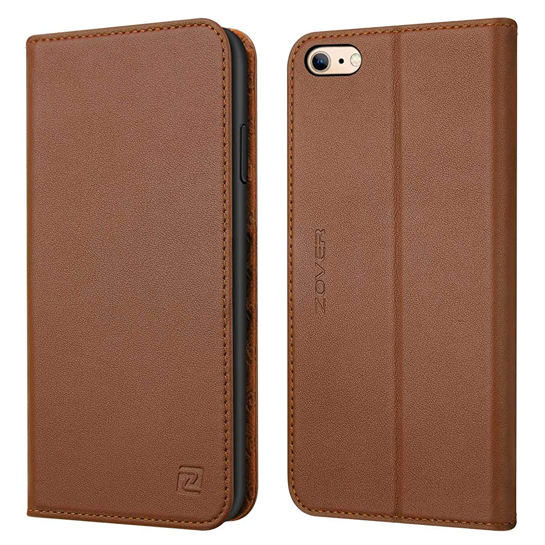 ZOVER Compatible with iPhone 6s 6 Case Genuine Leather Case Flip Folio Book Case Wallet Cover Kickstand Feature Card Slots & ID Holder Magnetic Closure Brown