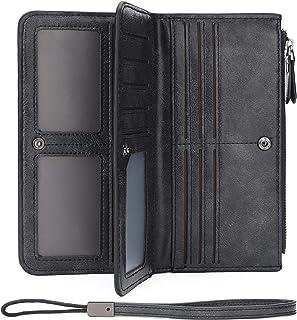 Wallets for Women RFID Blocking Credit Card Holder Cases 16 Slots Long Coin Purse Wristlet Strap 1810 (BLACK)