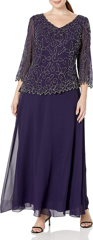 J Kara Plus Size Womens V-Neck with 3/4 Sleeve Long Dress