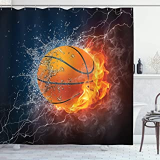 Ambesonne Sports Decor Collection, Basketball Ball on Fire and Water Flame Splashing Thunder Lightning Image, Polyester Fabric Bathroom Shower Curtain Set with Hooks, Navy Blue Orange White