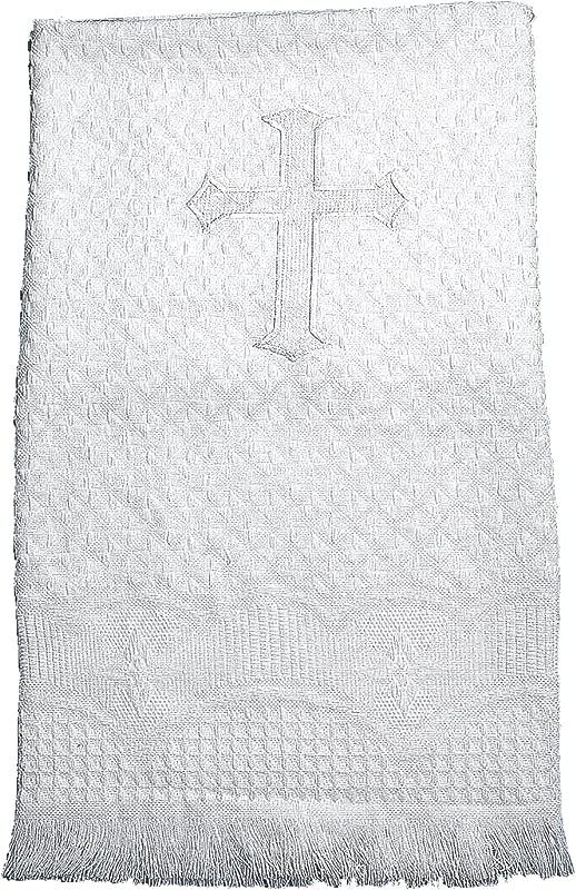 Lauren Madison Boy Girl Christening Baptism Unisex Infant Embroidered Cross Blanket