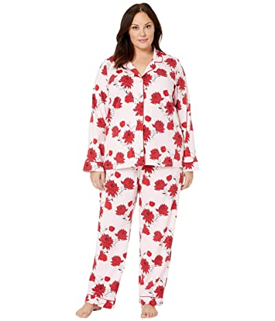 BedHead Pajamas Plus Size Long Sleeve Classic Notch Collar Pajama Set (Budding Romance) Women
