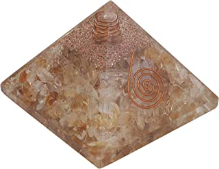 Crocon Citrine Orgone Pyramid for Feng Shui Chakra Balancing Crystal Energy Generator Reiki Healing EMF Protection Aura Cleansing Spiritual Gift Home Office Decor Size: 2.5-3 Inch