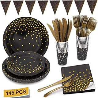 Black and Gold Party Supplies Golden Dot Disposable Party Dinnerware Includes Paper Plates Napkins Knives Forks Cups Banner for Graduation, Birthday, Cocktail Party, Serves 24