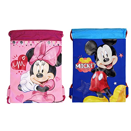 (2ct) Mickey   Minnie Mouse Drawstring Backpack - Large Drawsting Bag 241e902f29f2d