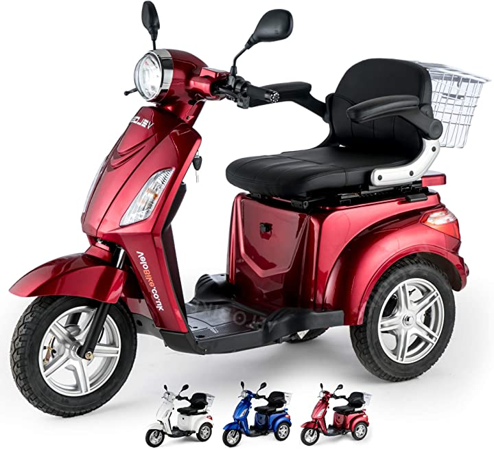 Scooter elettrico 3 ruote disabili anziani 25km/h 900w rosso veleco zt15