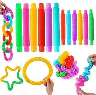 iCool Newest Sensory Fidget Toy Set 12 PCS Pack with Big Pop Tubes Fidget Toy and Mini Pop Tubes Fidget Toys