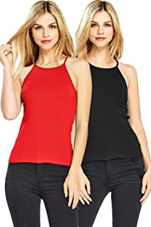Ambiance Apparel Women's High Neckline Ribbed Tank Top 2 PK