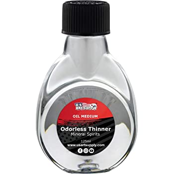 U.S. Art Supply Odorless Mineral Spirits Thinner, 125ml / 4.2 Fluid Ounce Container