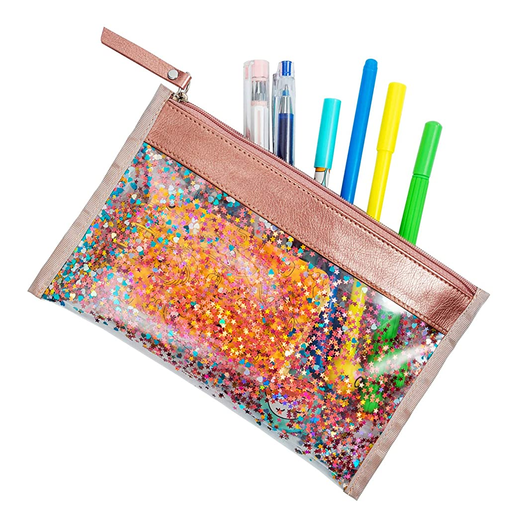 CTUNES Glitter Clear Pencil Pen Case Star Sequin Cosmetic Makeup Bag Zipper Pencil Pouch for Travel, School & Office Supplies - Pink