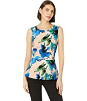Sleeveless Floral Printed Top with Ruffle Hem