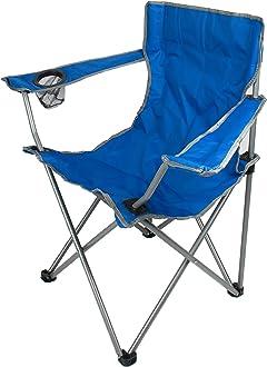 H HANSEL HOME Silla Camping Plegable de Acero con Posavasos para Interior o Exterior 50 x 50 x 80 CM - Color Azul Marino