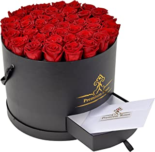 Premium Roses| Real Roses That Last a Year | Fresh Flowers| Roses in a Box (Black Box, Large)