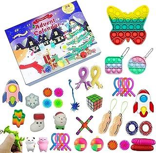 Fidget Toys jul nedräkningskalender, 24 dagars adventskalender sensorisk leksaksset presentförpackning 2021 Pop On It Simp...