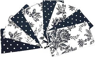 April Cornell Felicity Black Flowers & Polka Dot Set of 8 Dinner Napkins, 100% Cotton Fabric, Beautiful Sophisticated Prin...