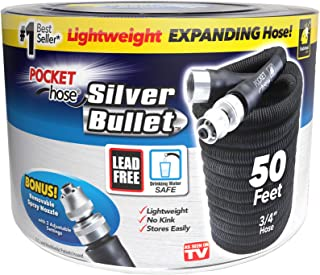 Pocket Hose Original Silver Bullet Lightweight Water Hose by BulbHead – Expandable..