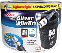 Pocket Hose Original Silver Bullet (50 Ft) Lightweight Water Hose by BulbHead - Expandable Garden Hose That Grows with Lea...
