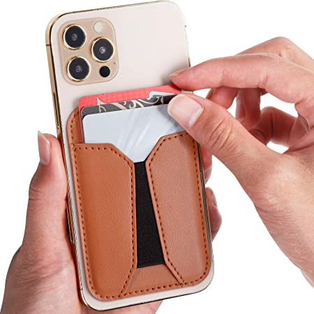 for iPhone 12 Mini Pro Max Holds 2 Cards with 2 Pockets Leather Mag-Safe Wallet Magnetic Wallet Compatible with iPhone 12 Magsafe Wallet Card Holder for Back of Phone Black