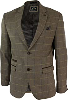 Mens Check Vintage Herringbone Tweed Light Brown Oak Blazer Jacket Slim Fit
