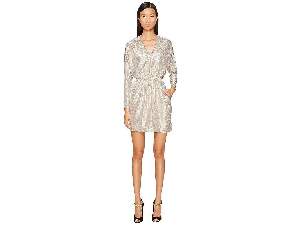 Just Cavalli Long Sleeve V-Neck Sparkled Dress (Gold) Women