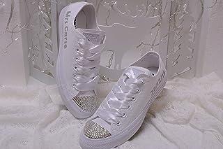 48f71edca32c Bling White Monogrammed Wedding Sneakers For Bride