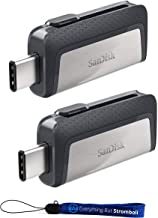 SanDisk Ultra 128GB (Two Pack) Dual Drive USB Type-C (SDDDC2-128G-G46) with Everything But Stromboli (TM) Lanyard