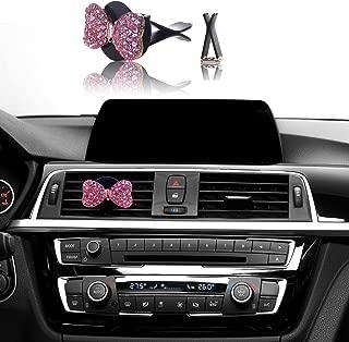 Bling Car Decor, Mini-Factory Car Interior Bling Accessory Air Vent Bling Car Accessories - Pink Diamond Bow