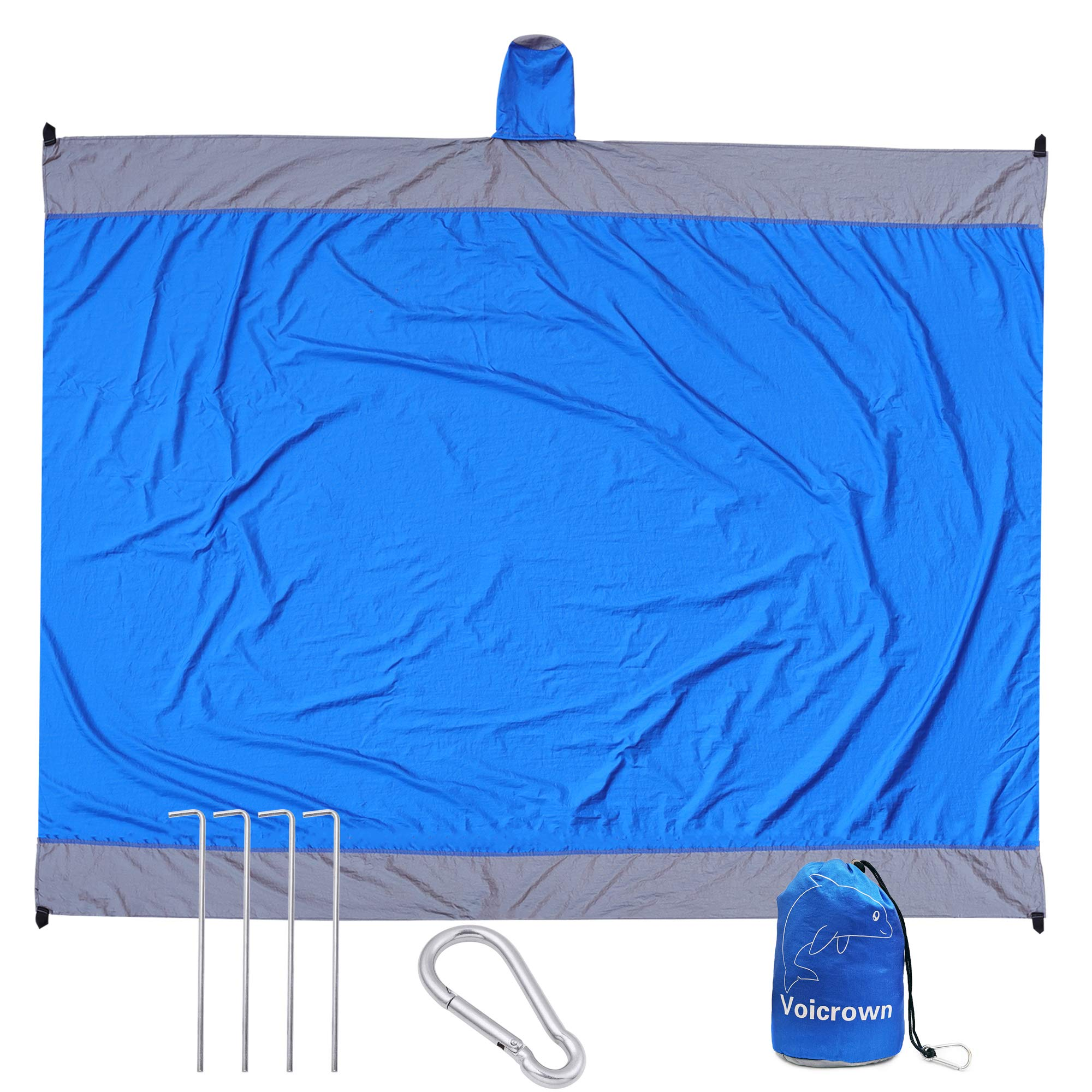 Hiking Compact Pocket Blanket for Beach,Travel RainRider Outdoor Beach Blanket,Waterproof Picnic Blanket//Sand Proof Beach Mat 79/″x79/″ Festival Camping Blue Sports