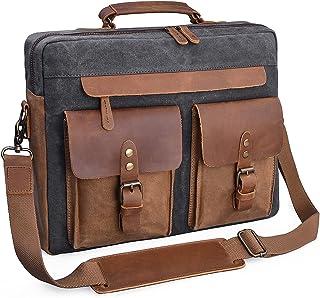 NEWHEY Herren Kuriertasche 39,6 cm 15,6 Zoll Vintage Echtleder Aktentasche Wasserdicht gewachst Canvas Laptop Computer Tasche Groß Leder Umhängetasche