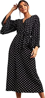 فستان ايه لاين متوسط الطول بتصميم منقط واكمام كسرات للنساء