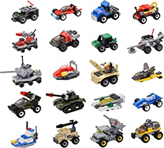 Sawaruita 20 Pack Military Vehicles and Race Car Building Brick Sets, 3D Assembly Cars ,Birthday Favors for Kids, Party Supplies Toy Gift (20 Sets)