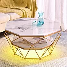 2-Tier Marble Coffee Table, Mid-Century Octagon Storage Cocktail Table with USB LED Light, for Living Room Accent Furnitur...