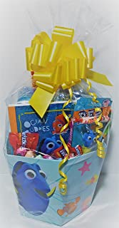 Finding Dory Nemo and friends deluxe Happy Easter Basket with sidewalk chalk pez dispenser journal loads of candy large bubble wand keepsake metal lunch kit with puzzle egg hunting for boys or girls