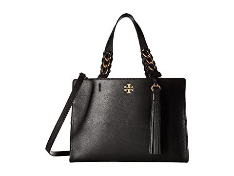 Brooke Satchel Bag in Black Leather Tory Burch