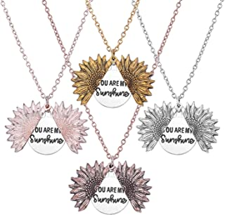 You Are My Sunshine Engraved Necklace Inspirational Sunflower Locket Necklace Jewelry for Women girlfriend, Rose Gold