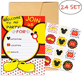PANTIDE 24Pcs Mickey Minnie Mouse Party Invitation Cards with Mickey Mouse Stickers and Envelopes-Double Sided, Fill-in-Blank Cards for Kids Birthday Baby Shower Mickey Mouse Party Supplies