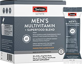 Sponsored Ad - Swisse Green Superfood Powder + Multivitamin & Multi-Mineral Supplement Drink Mix for Men, Passion Fruit Ma...