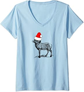 Womens Mountain Goat Wearing a Santa Clause Christmas Hat V-Neck T-Shirt