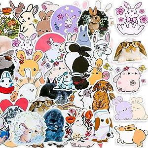 Zonon 100 Pieces Cute Rabbit Stickers Cartoon Bunny Decals Waterproof Vinyl Rabbit Laptop Sticker Assorted Colorful Rabbit Sticker Pack for Kids Teens Skateboard Water Bottle Phone Case