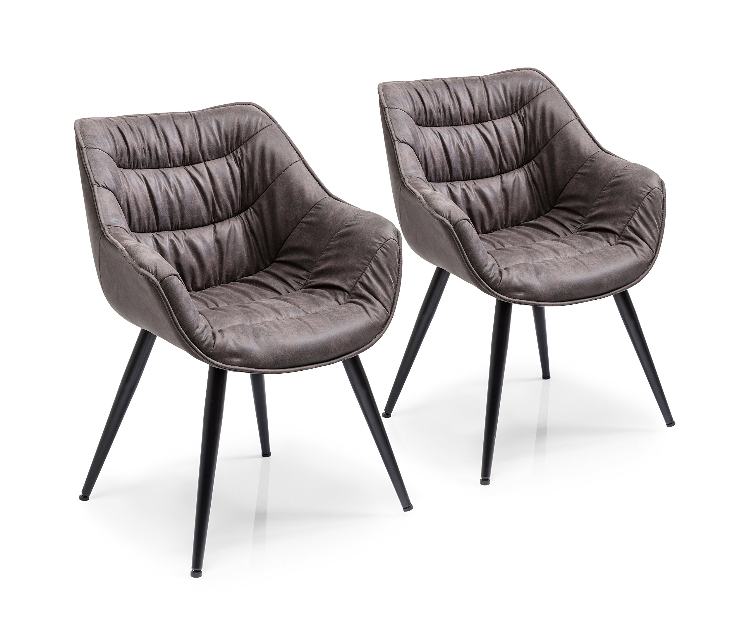 Kare Design Armlehnstuhl Thelma 2er Set, bequemer, gepolsterter Esszimmerstuhl mit Armlehnen im Retro Design, Grau Schwarz (HBT) 82x65x60cm